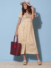 Ecru Schiffli Long Dress