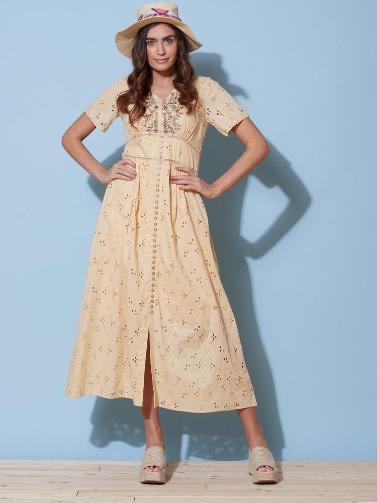 Ecru Floral Schiffli Long Dress