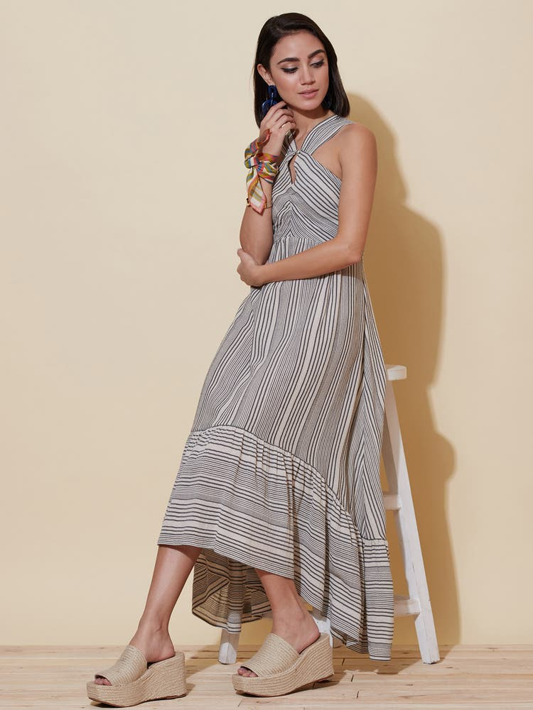 Monochromatic Striped Midi Dress