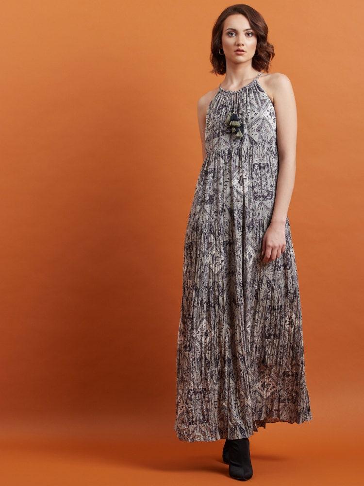 Grey Printed Long Dress