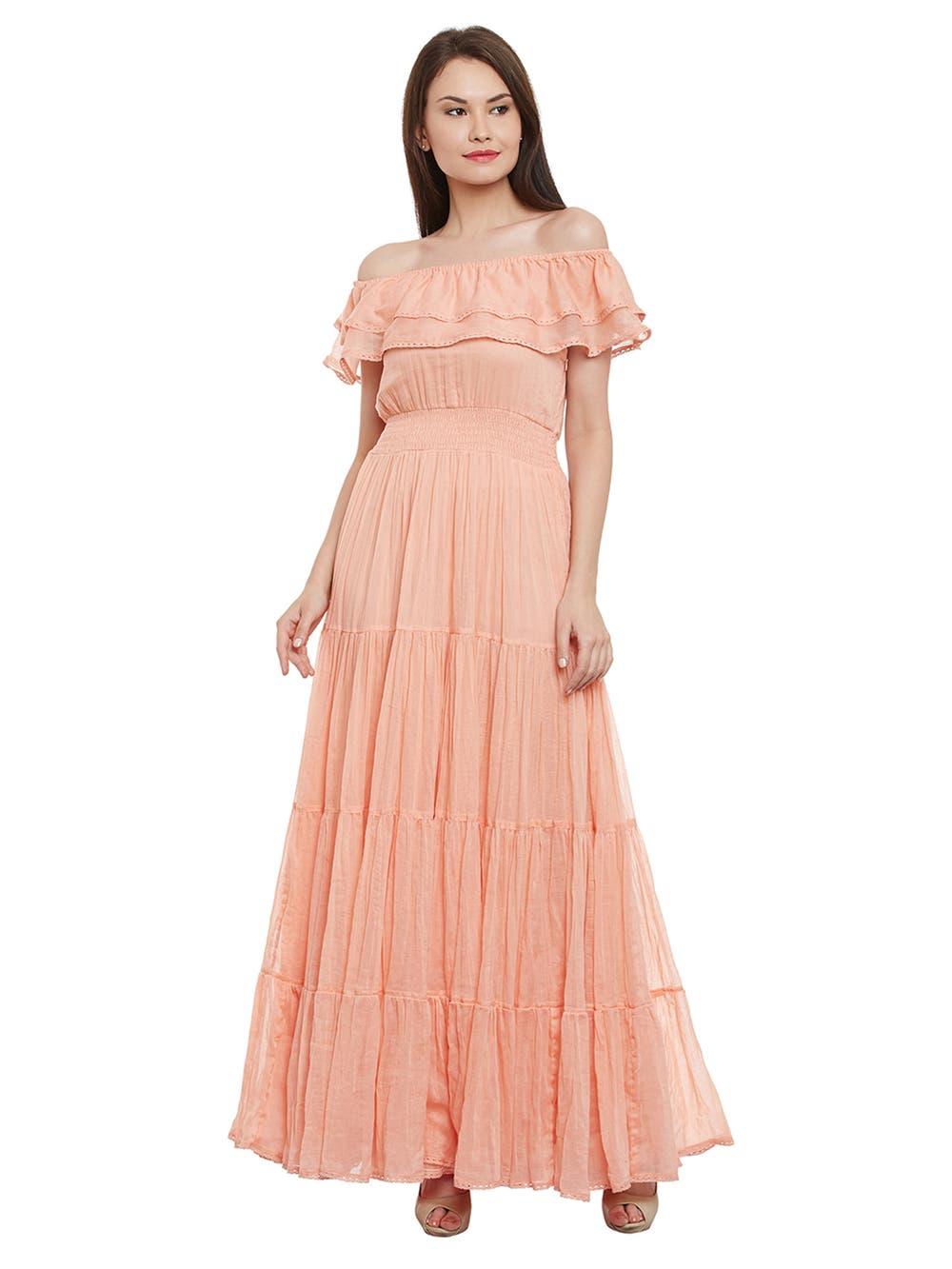 Peach Off-Shoulder Long Dress