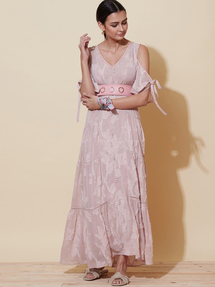 Dusty Pink Jacquard Long Dress