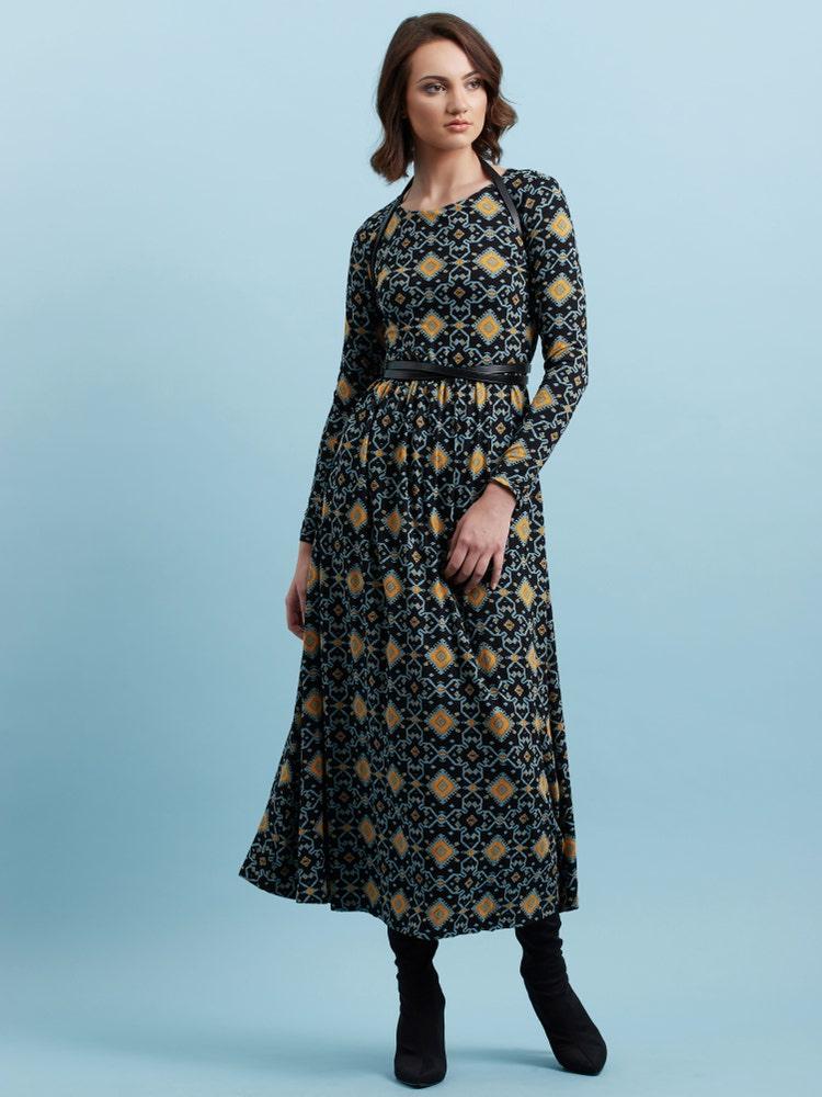 Black Geometric Print Long Dress