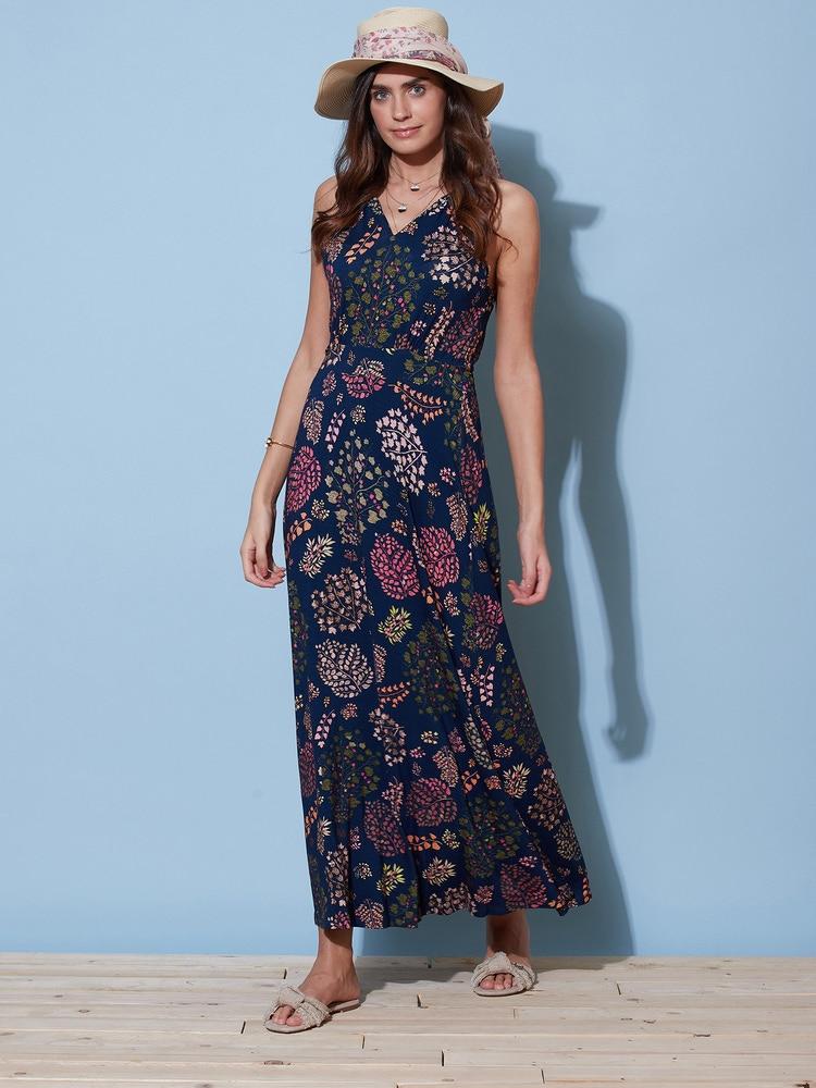 Navy & Pink Floral Print Maxi Dress