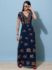 Navy Blue Floral Print Long Dress