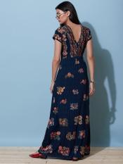 Navy Blue Floral Print Long Dress