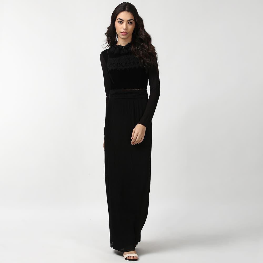 Black Full Sleeve Velvet Long Dress