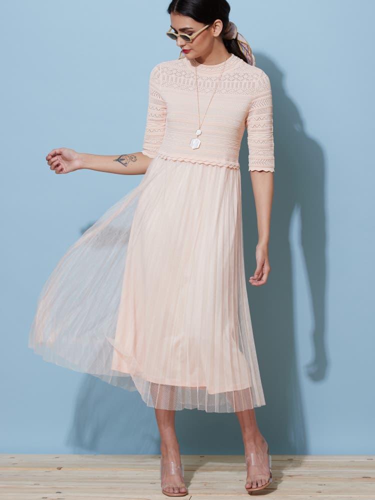 Peach Lace Midi Dress