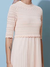 Peach Lace Midi Dress