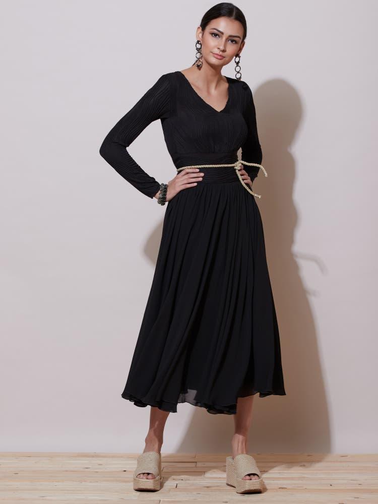 Black Self-Work Evening Long Dress