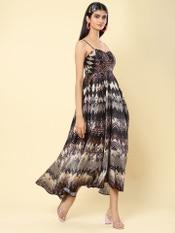 Black Printed Strappy Midi Dress