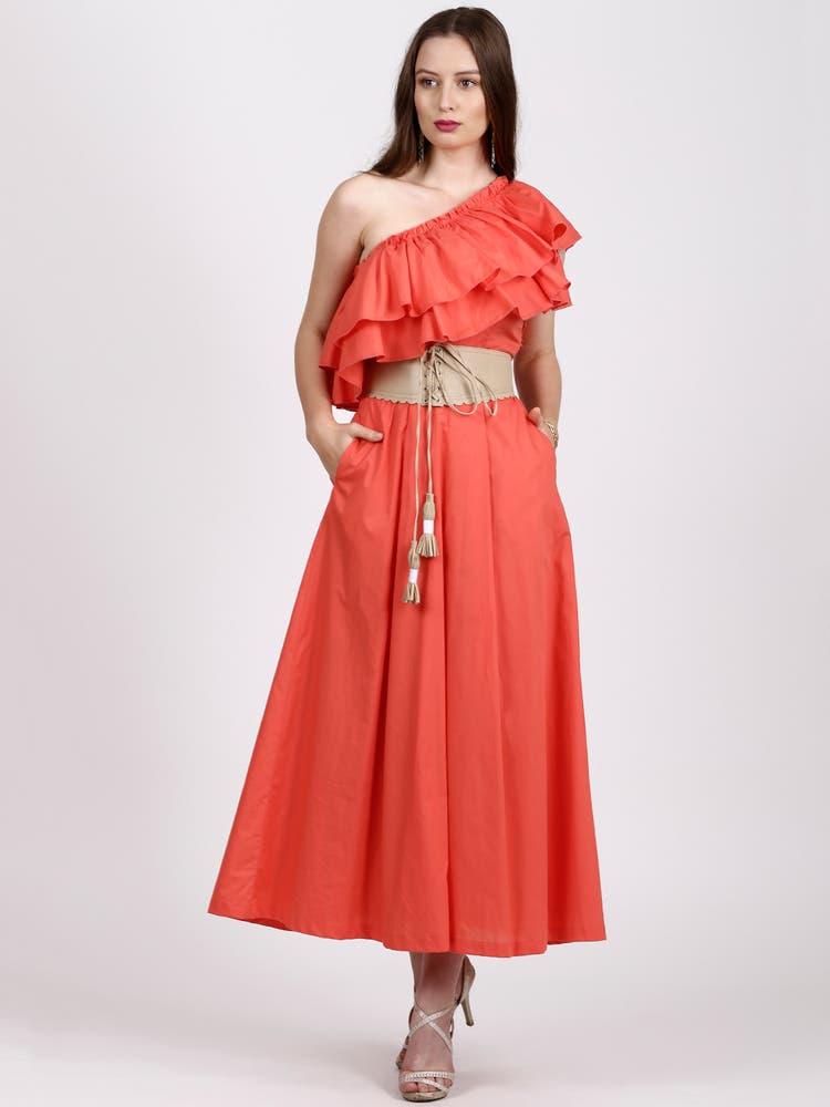Orange Ruffle Detail off-Shoulder Dress