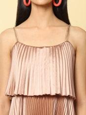 Champagne Flounce Bardot Pleated Satin Maxi Dress