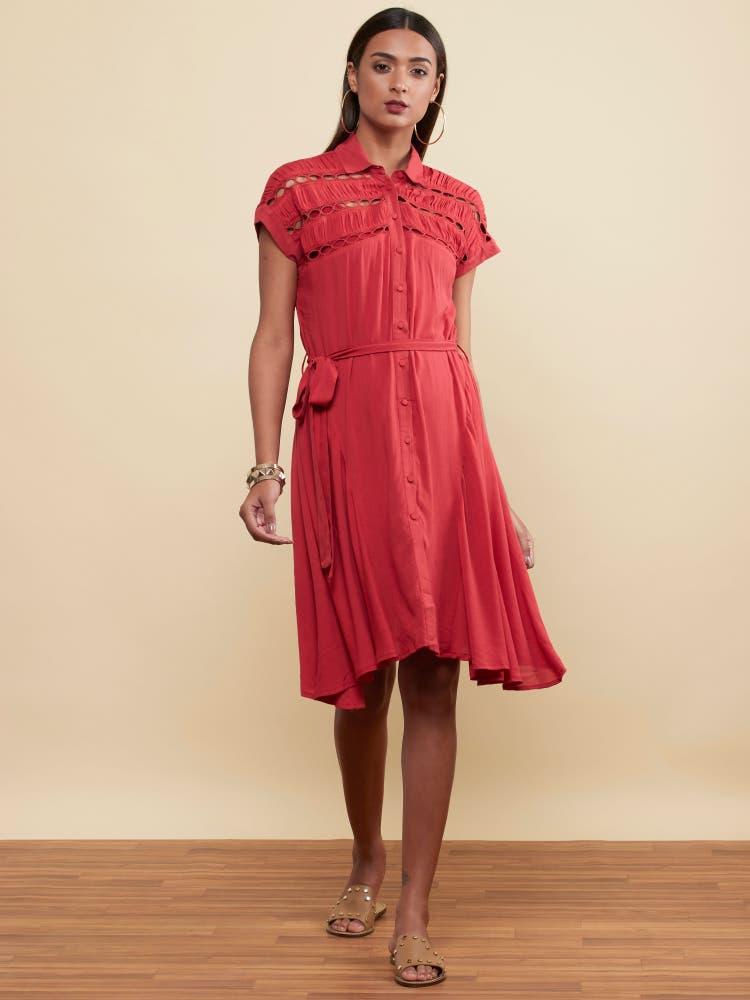 Deep Red Self-Work Short Dress