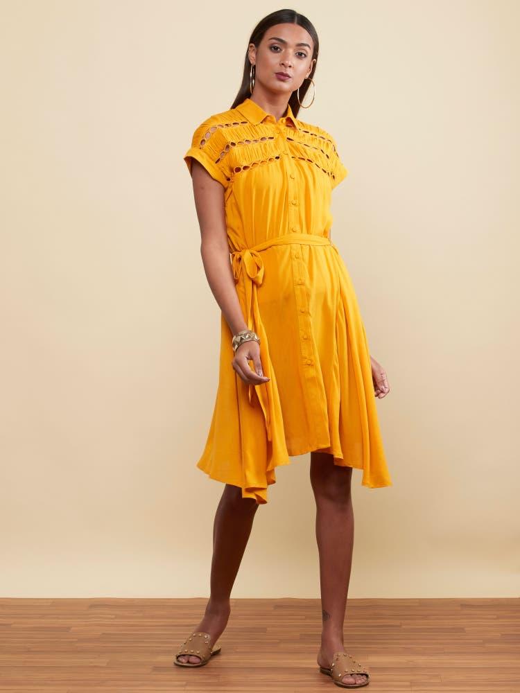 Mustard Yellow Self-Work Short Dress