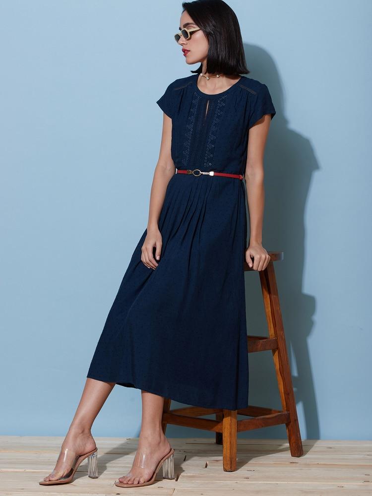 Navy Blue Schiffli Midi Dress