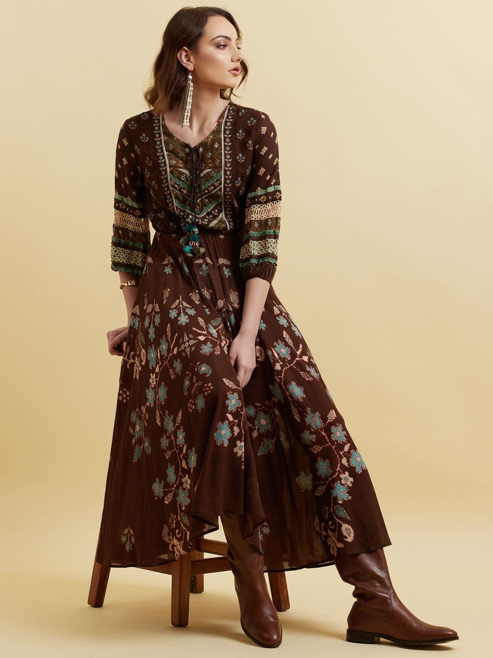 Brown Floral Print Long Dress
