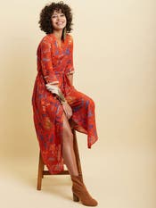 Red Printed Long Dress
