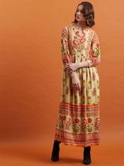 Beige Floral Print Long Dress