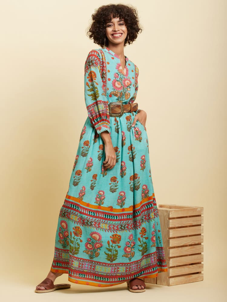 Teal Floral Print Long Dress