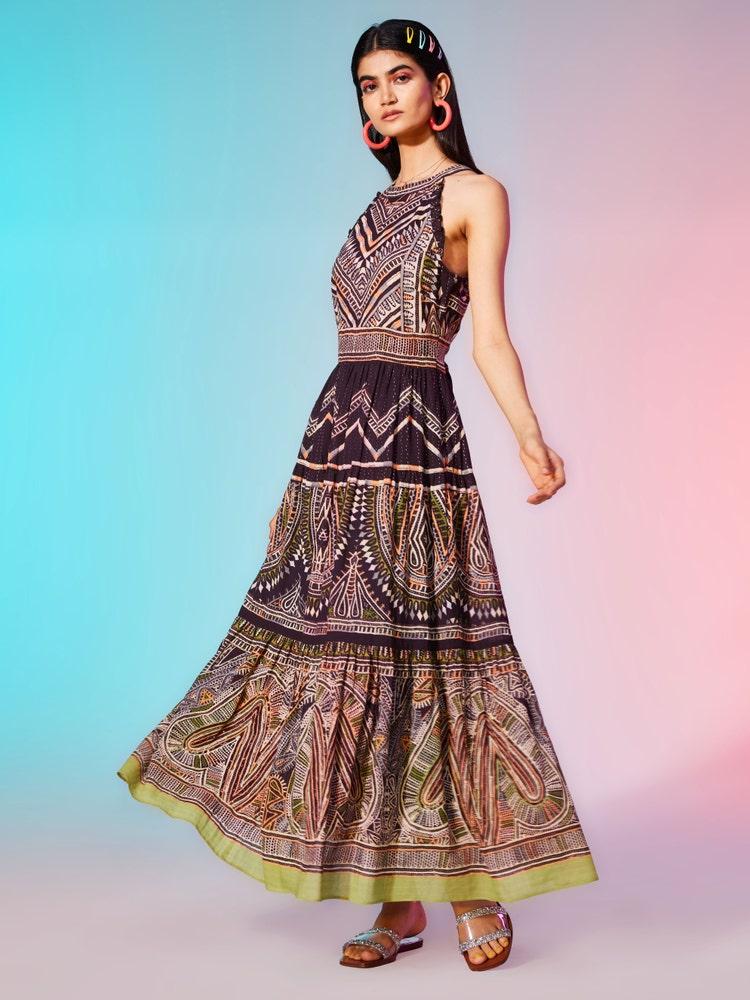 Black Printed Halter Neck Maxi Dress
