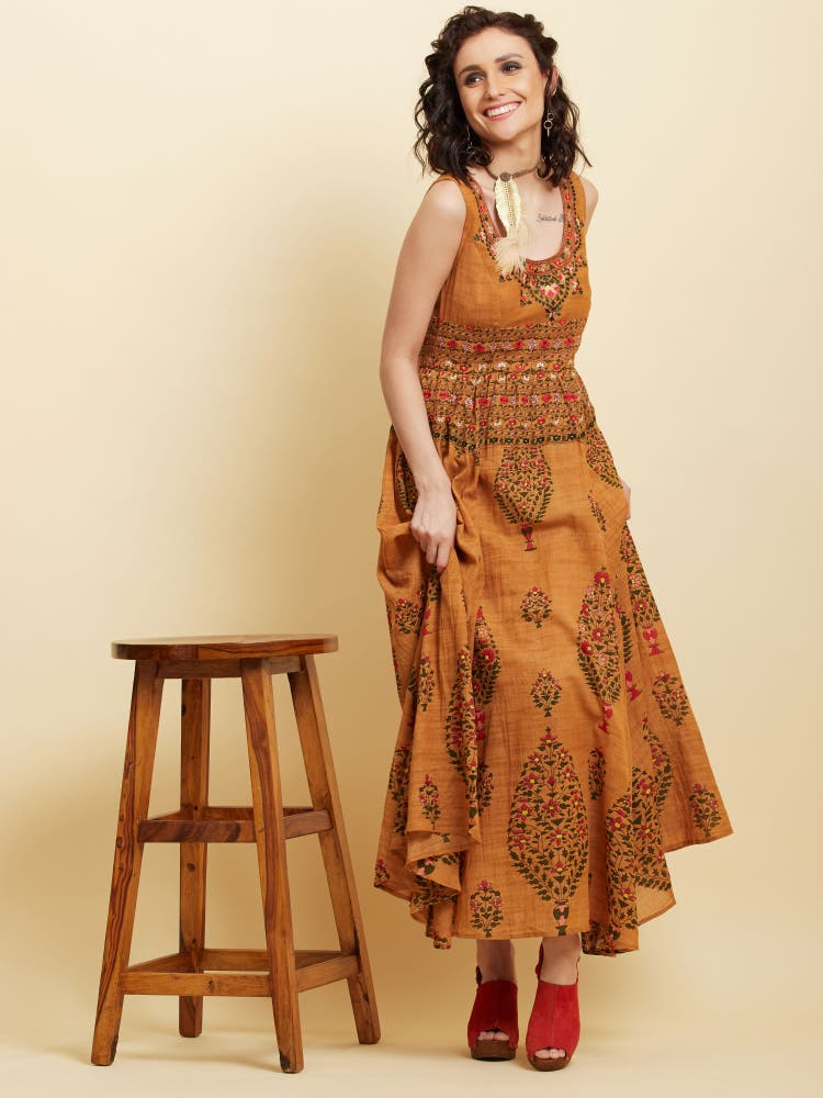 Brown Printed Long Dress