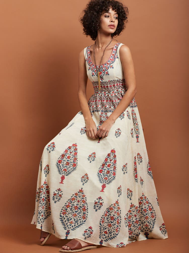 Ecru Printed Long Dress