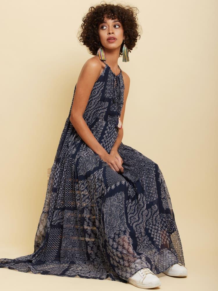 Navy Blue Patch-Work Long Dress