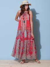 Pink Floral Print Halter Dress