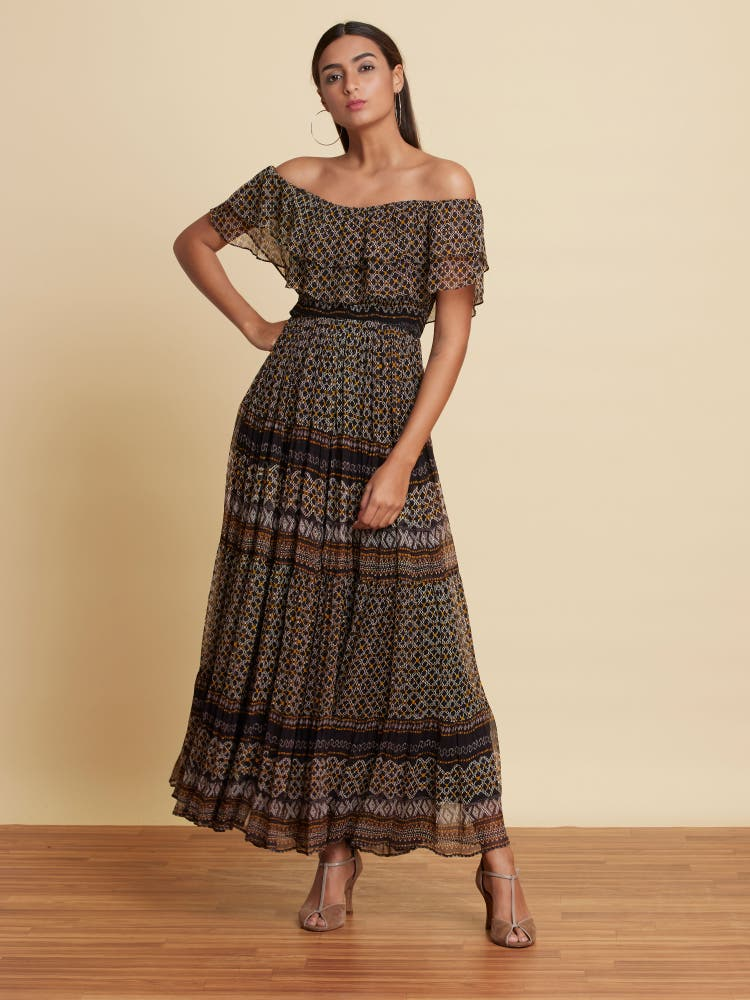 Black Printed Off-Shoulder Long Dress