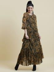 Bhumi Pednekar in an Olive Floral Blouson Dress