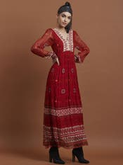 Red Flared Printed Long Dress