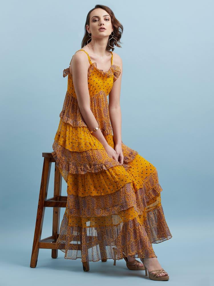 Mustard Yellow Layered Long Dress