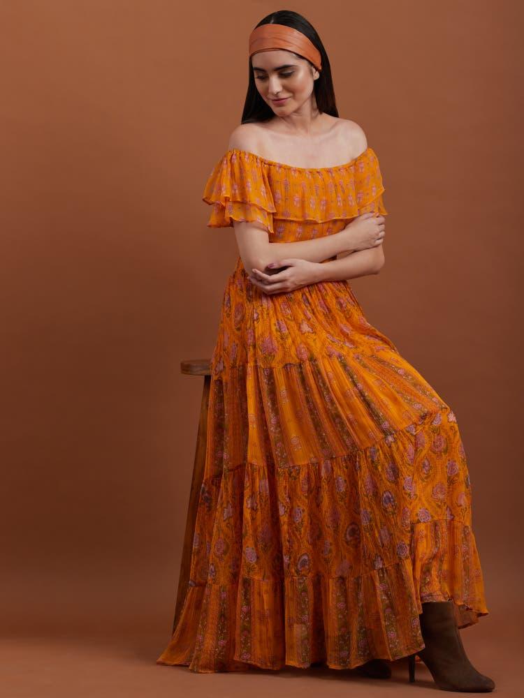 Yellow Floral Print Long Dress