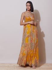 Mustard Floral Strappy Long Dress