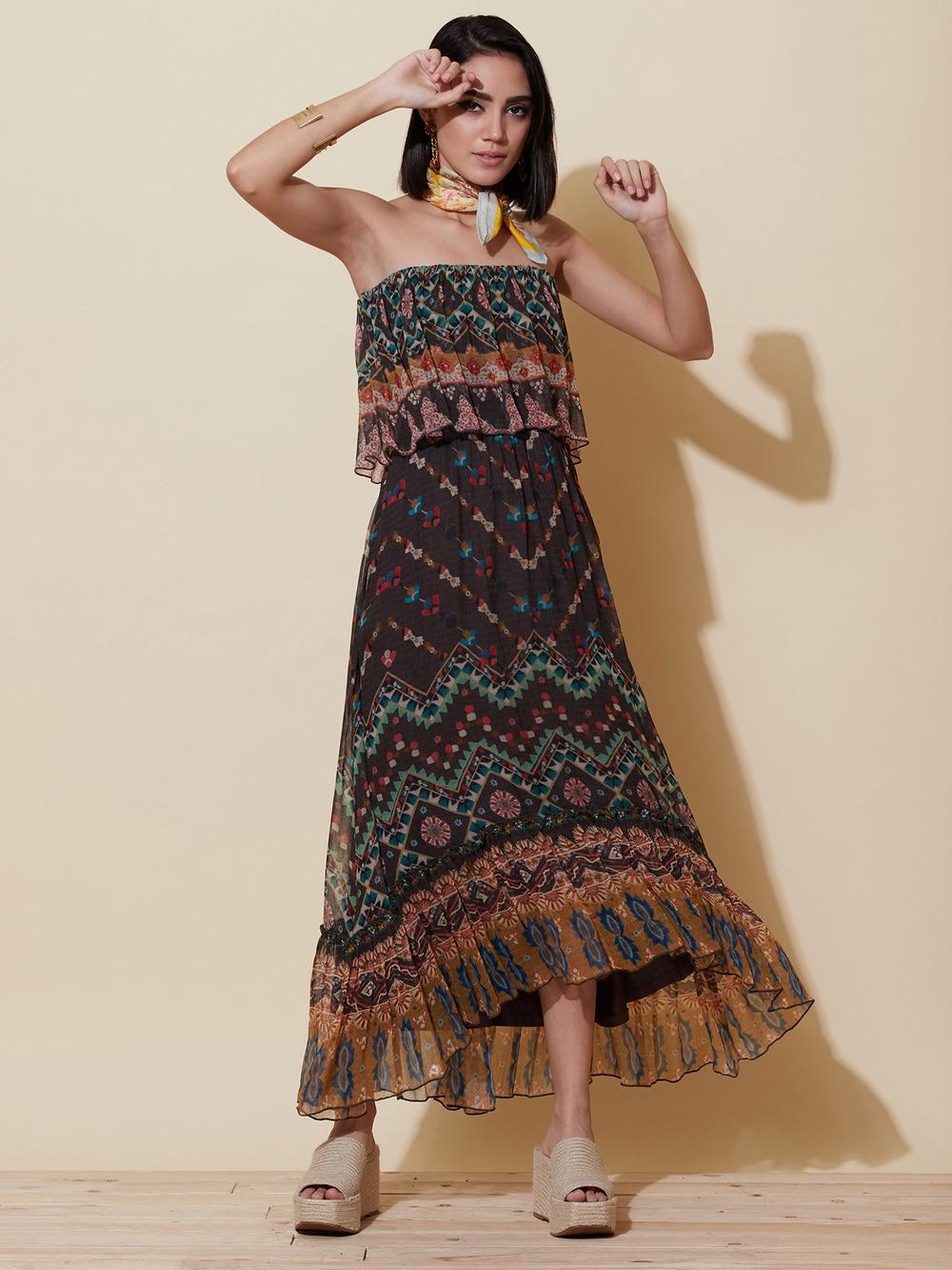 Black Eclectic Floral Maxi Dress