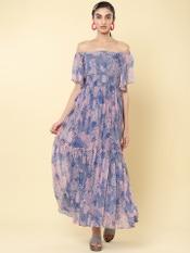 Blue Tropical Print Off-The-Shoulder Maxi Dress