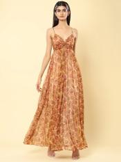 Ecru Floral Print Strappy Maxi Dress