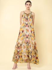 Yellow Checked Maxi Dress