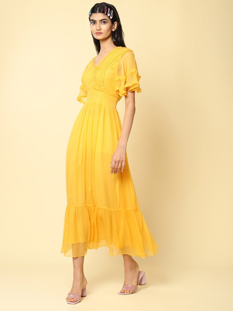Mustard Yellow Ruffle Midi Dress