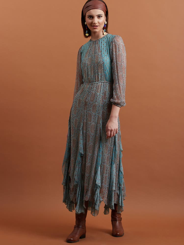 Blue Paisley Ruffle Midi Dress