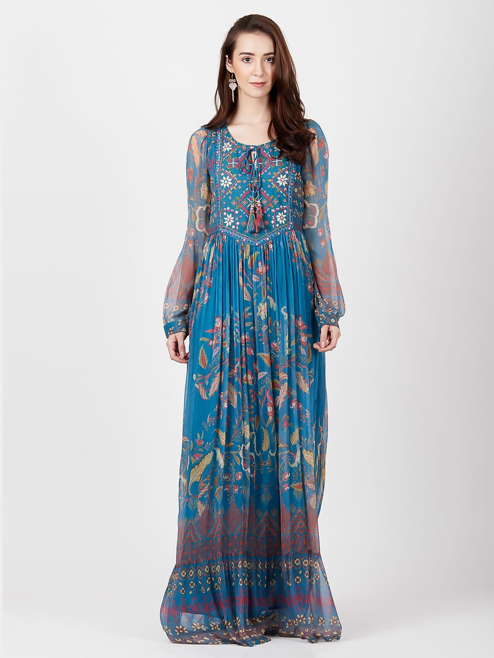 Powder Blue Printed Long Dress