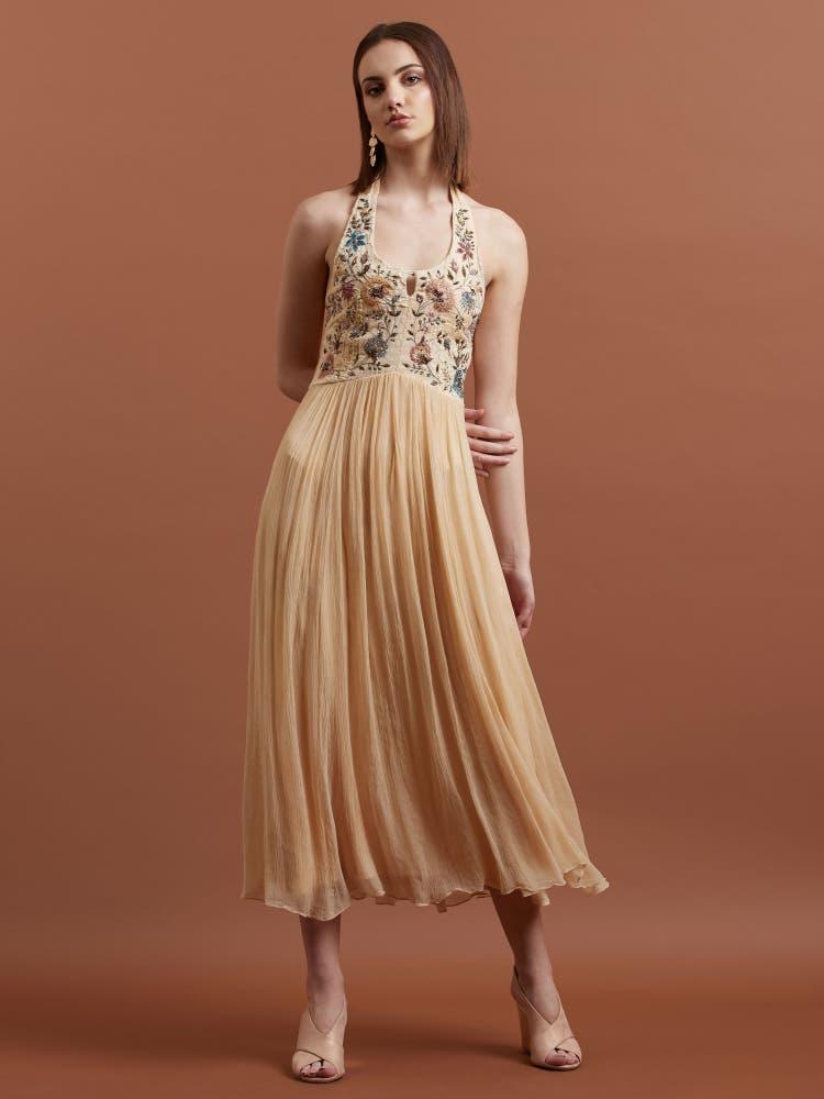 Ecru Floral Embroidered Halter Long Dress