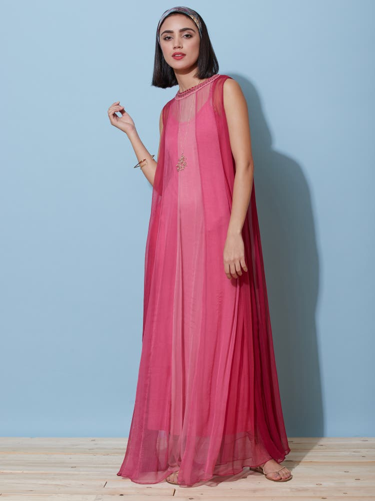 Berry Pink Ombre Long Dress