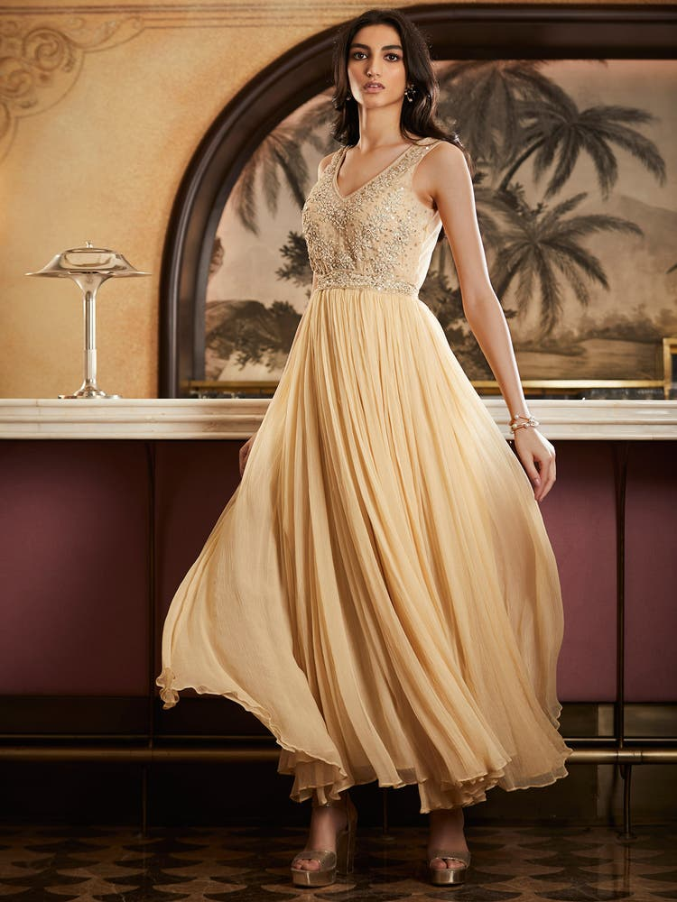 Beige Embroidered Evening Gown