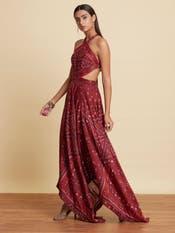 Tara Sutaria in a Burgundy Halter Dress