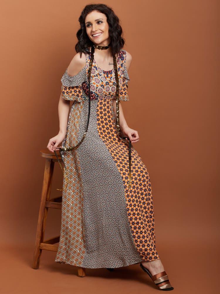 Multi-Color Geometric Cold-Shoulder Dress