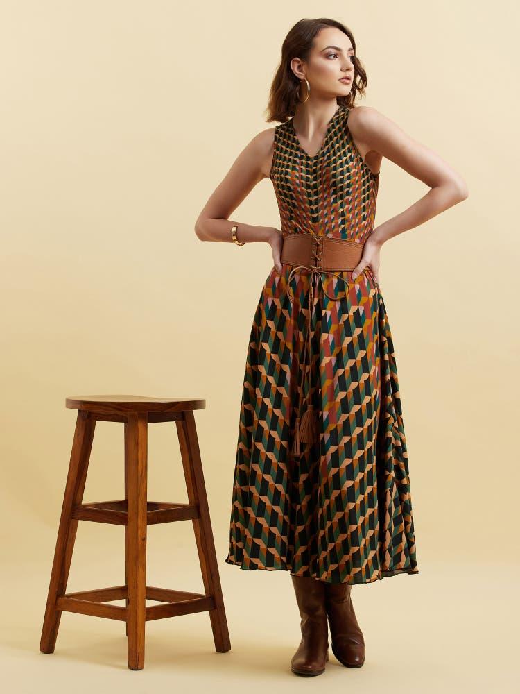 Green Geometric Printed Dress