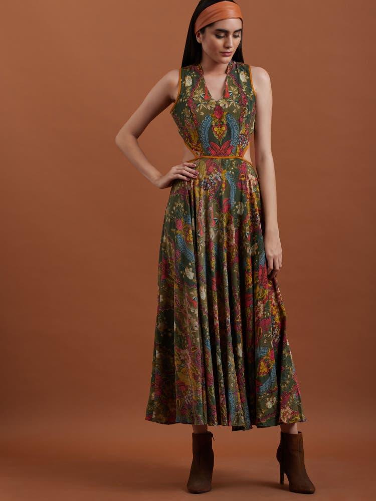 Olive Printed Halter Long Dress
