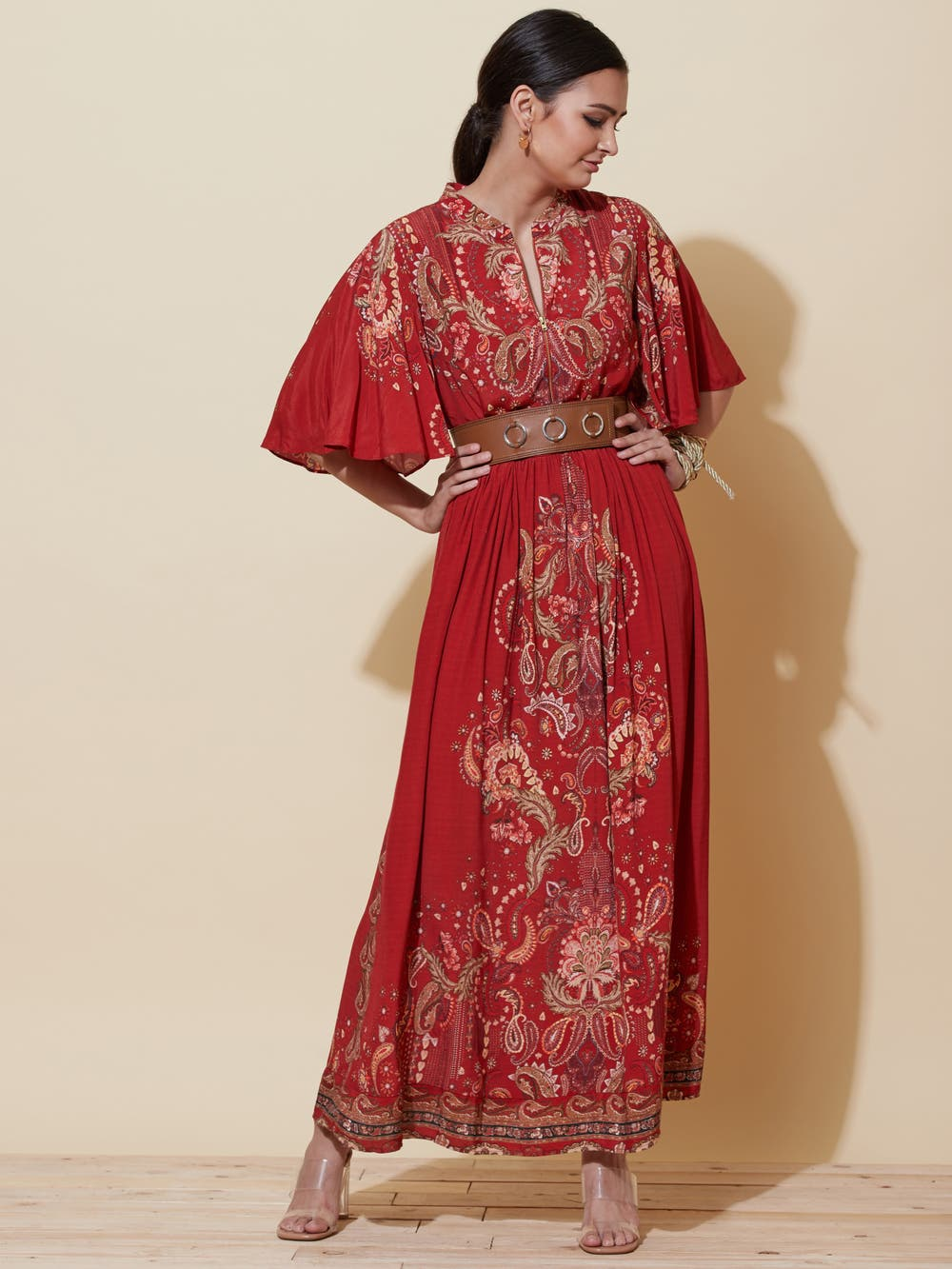 Red Floral Print Long Dress